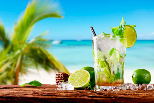 Mojito natural con alcohol y dispensador
